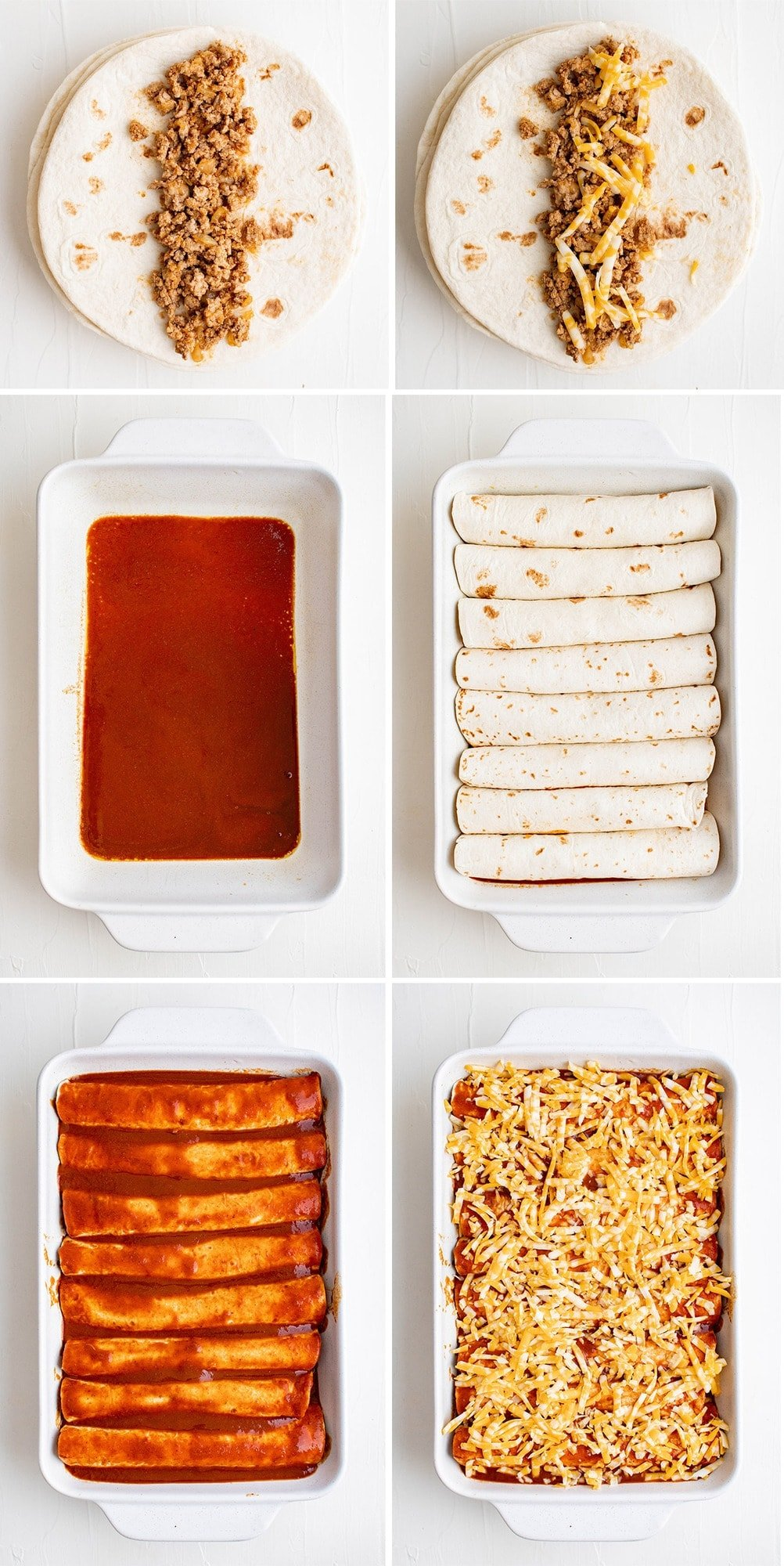 collage of images showing how to make enchiladas