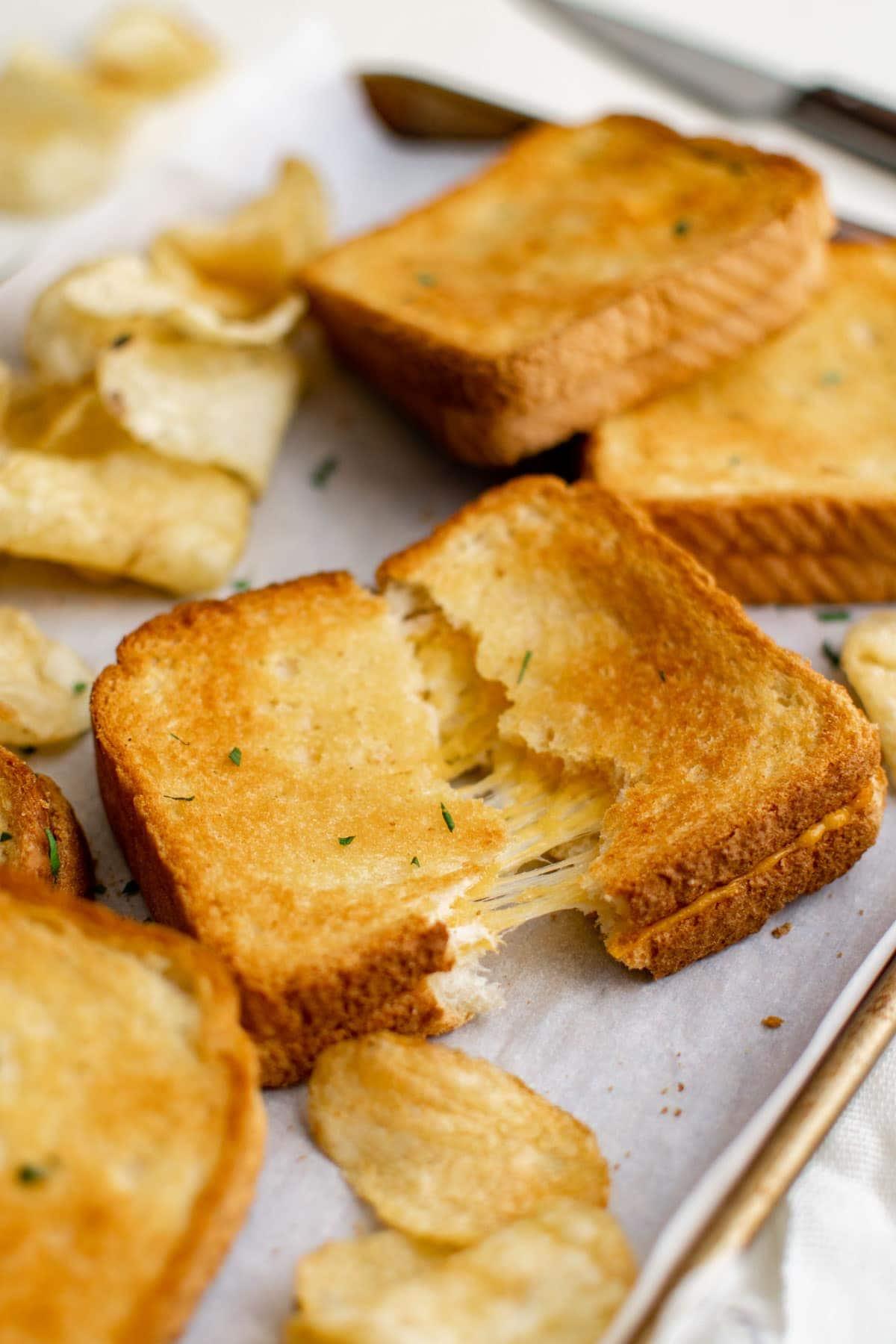baking sheet, cheese sandwiches, potato chips