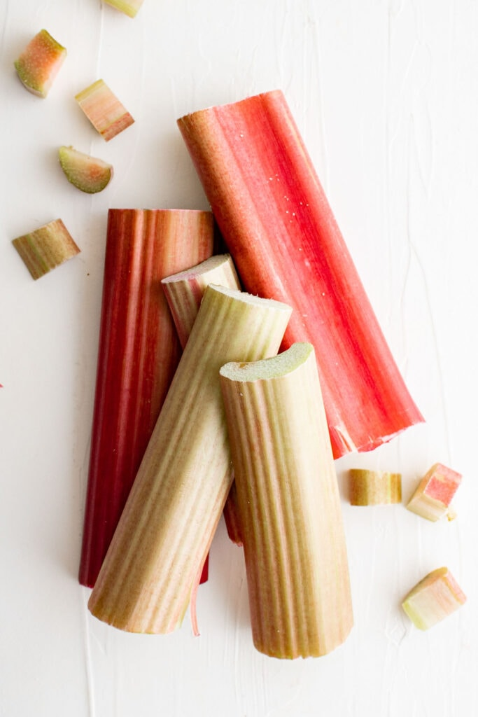 stalks of rhubarb on a white background