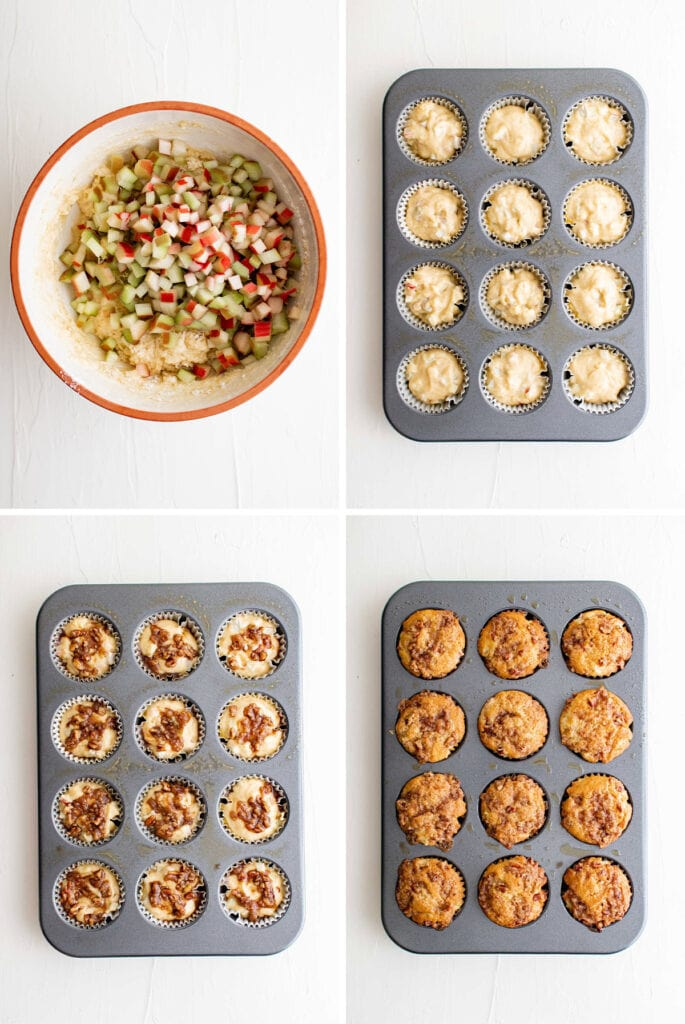 collage of images showing the steps for making rhubarb muffins