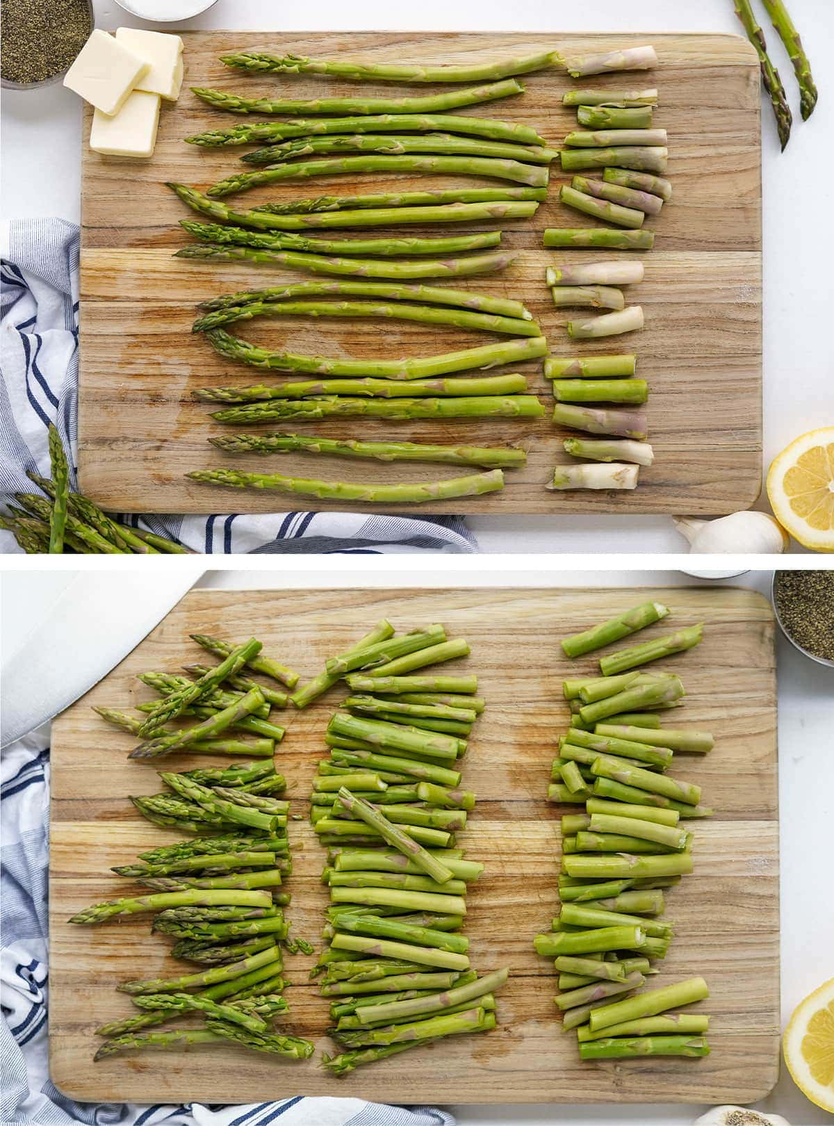 two images showing how to properly trim asparagus