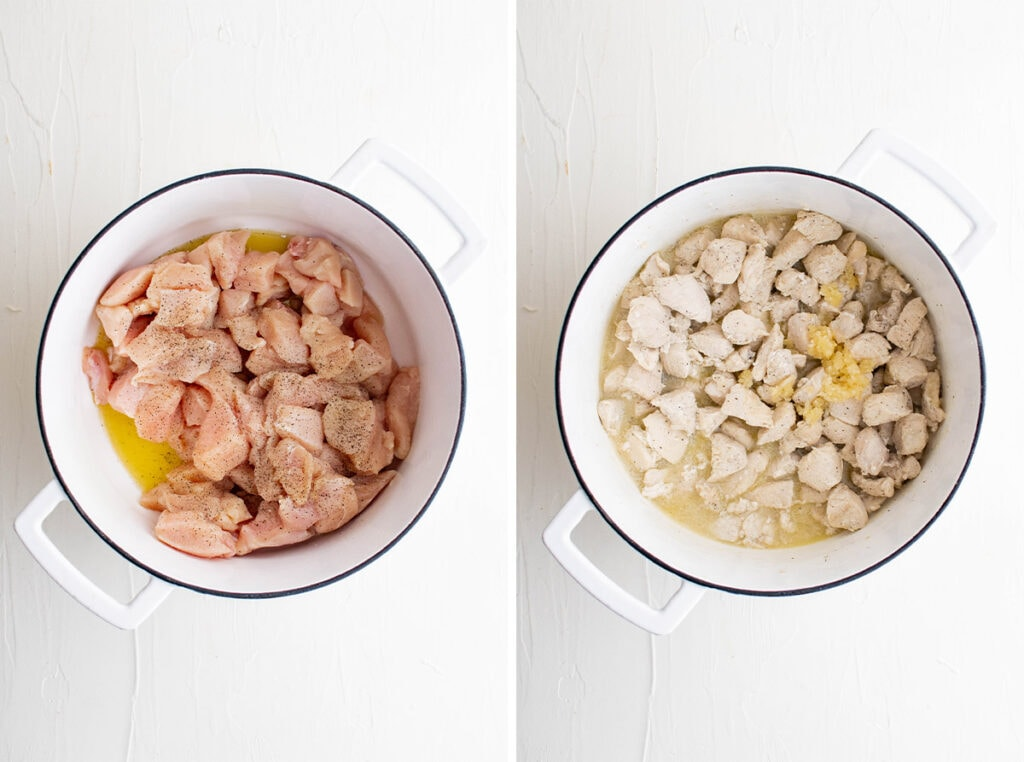 collage of pics showing chicken cooking in a pan