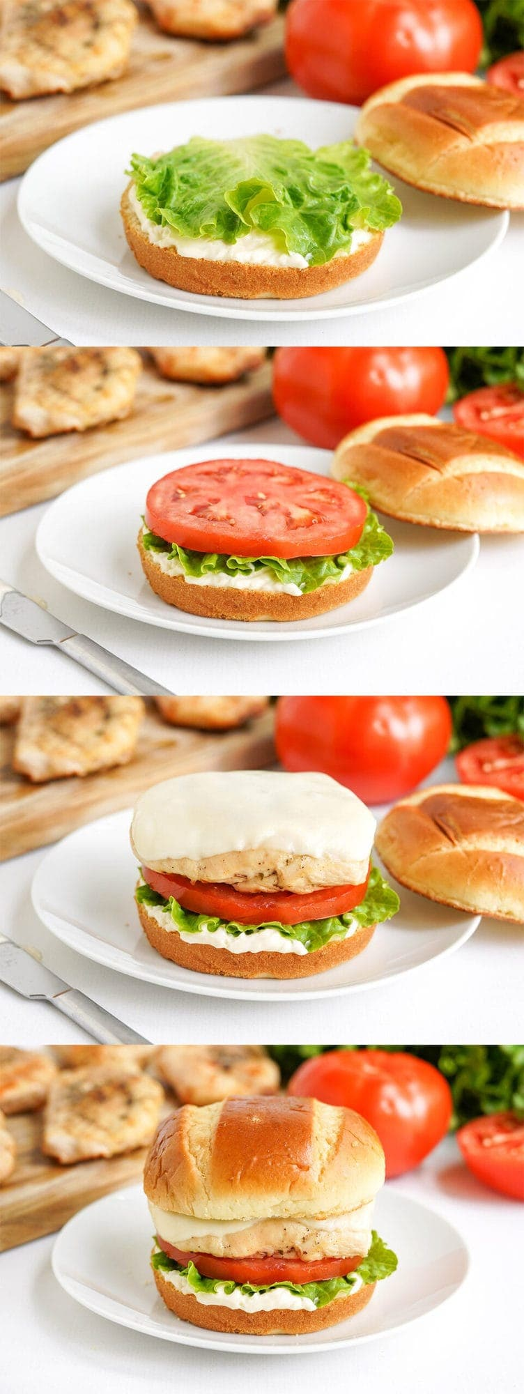 collage of images showing how to assemble a grilled chicken sandwich