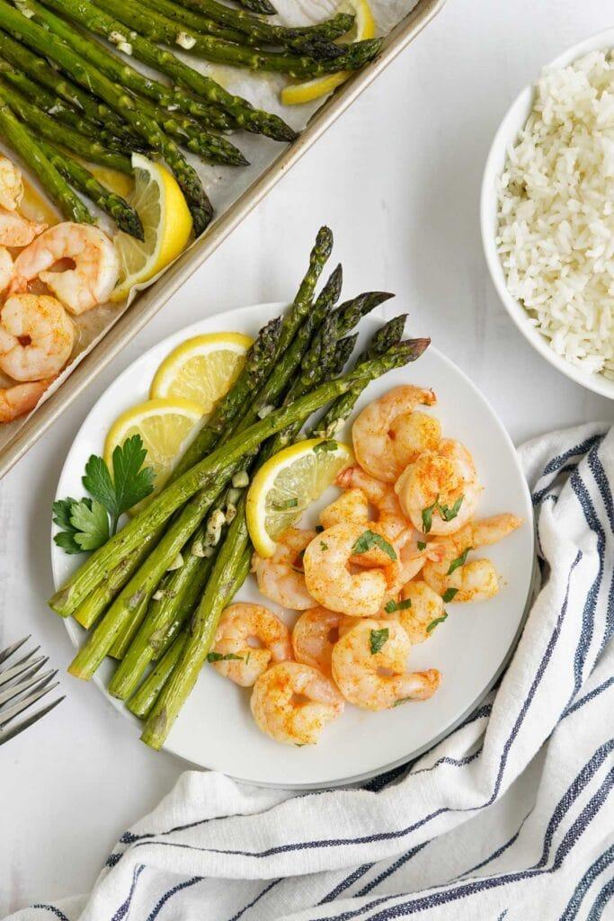 asparagus and shrimp on a plate