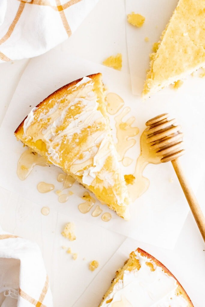 cornbread with butter and honey