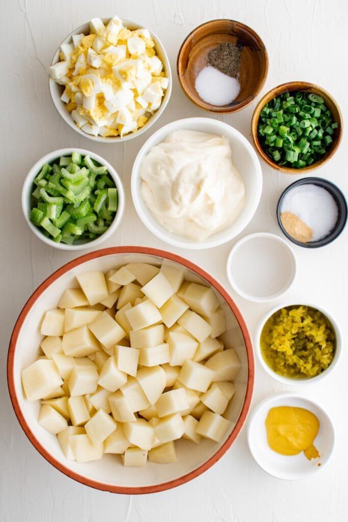 ingredients to make southern potato salad
