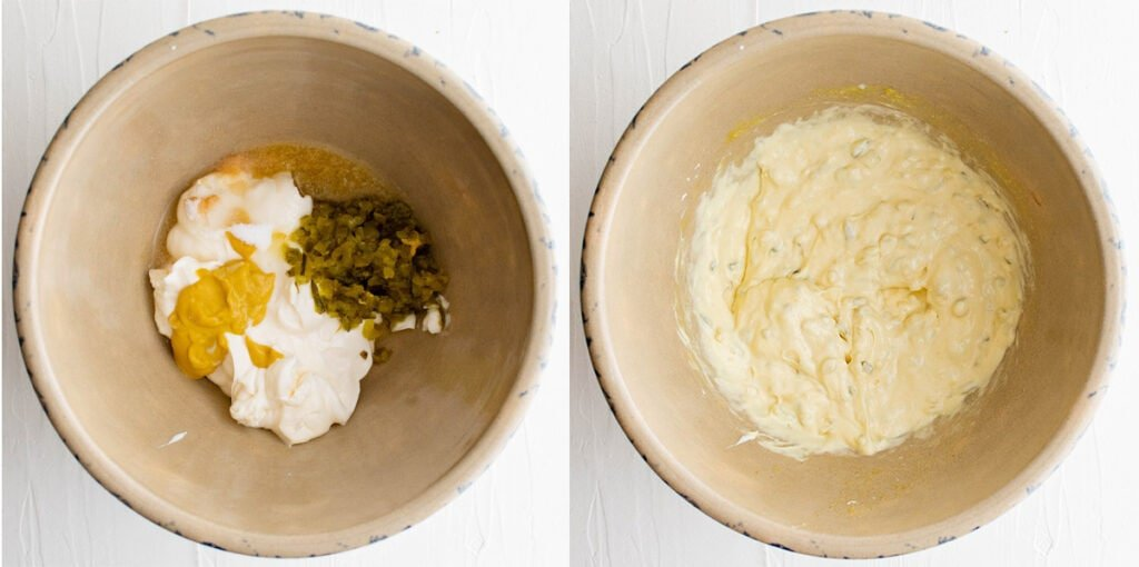 2 bowls with ingredients for potato salad dressing, then the dressing mixed
