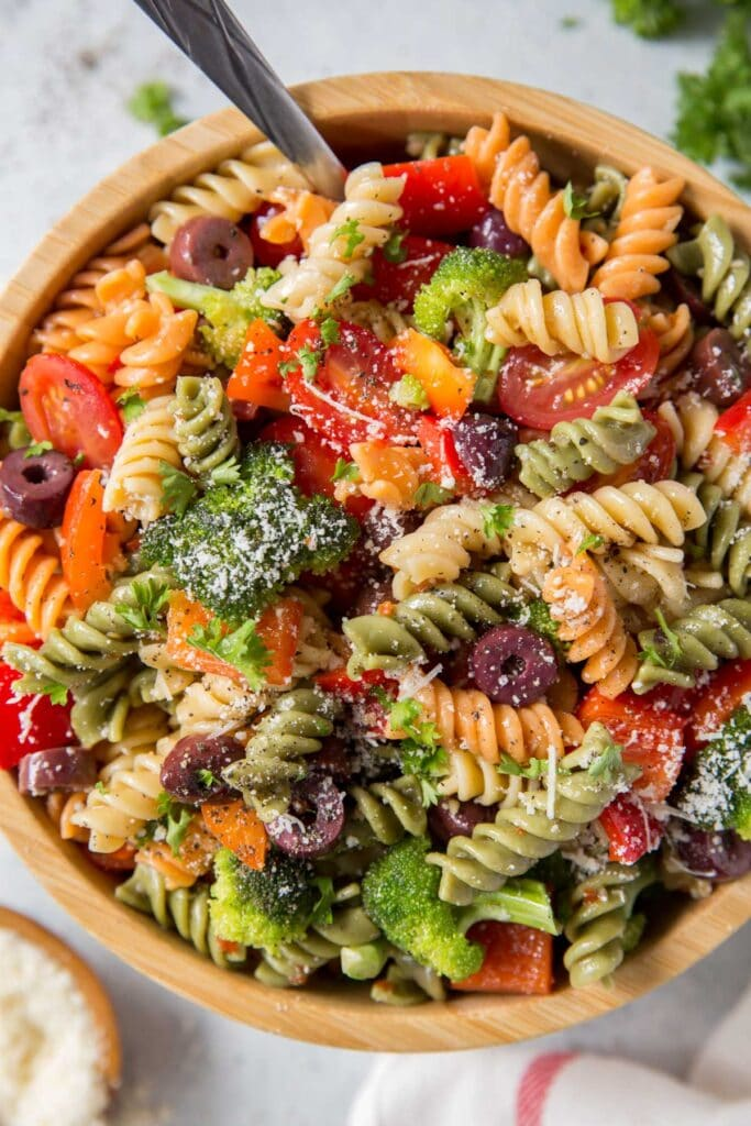 pasta salad with veggies and olives