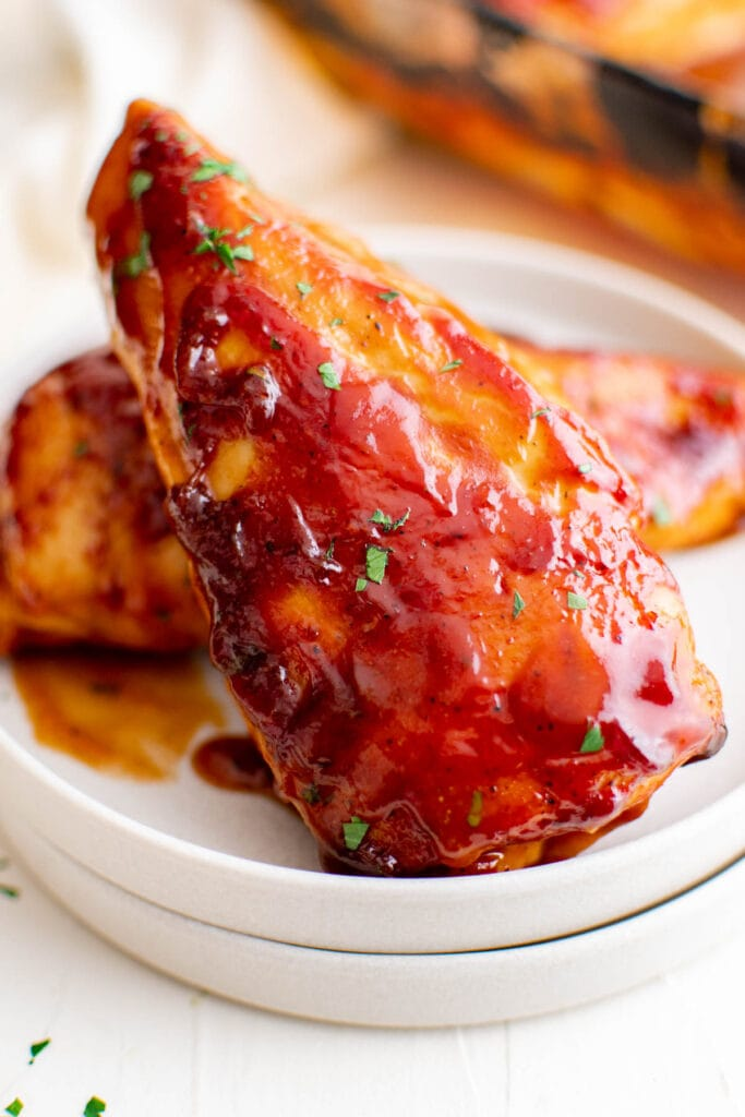 baked bbq chicken on a plate