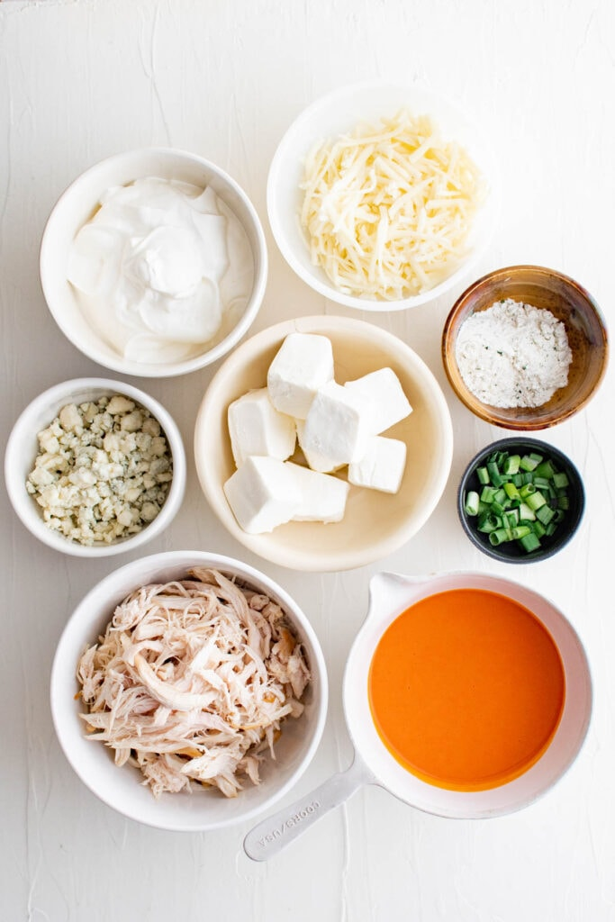 ingredients for buffalo cicken dip
