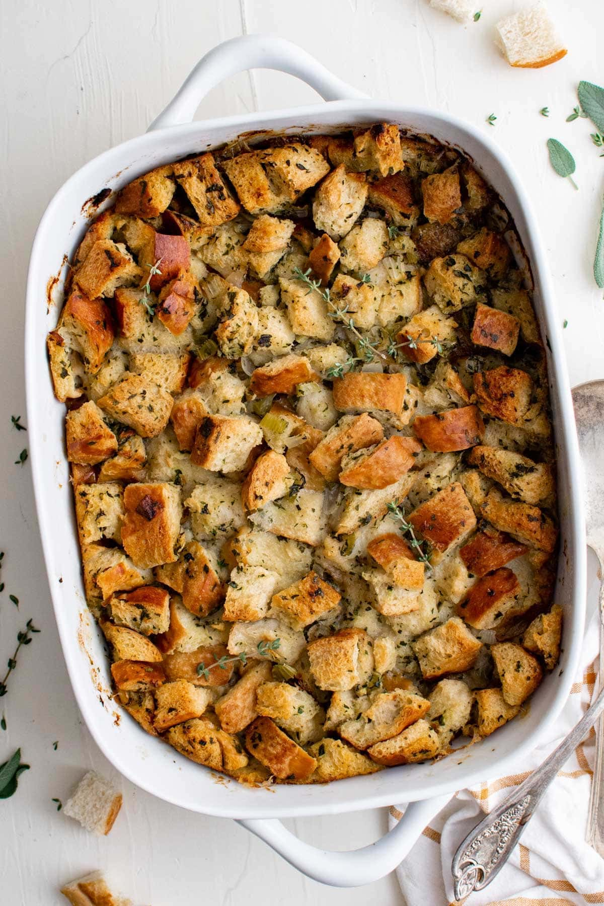 white baking dish with homemade stuffing