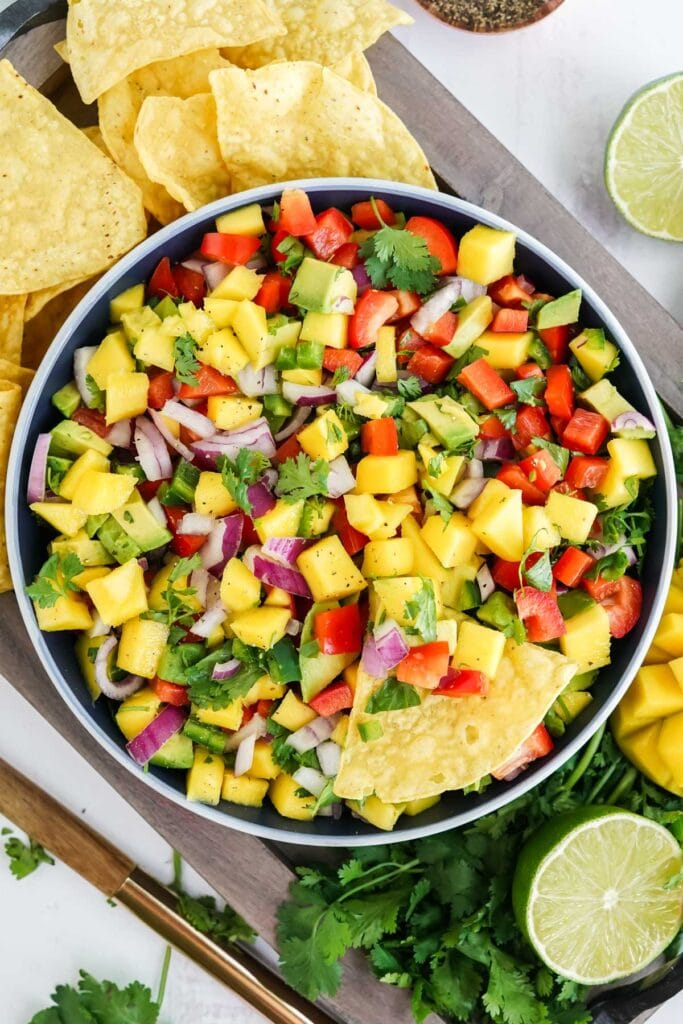 salsa with mangoes, cilantro and tomatoes