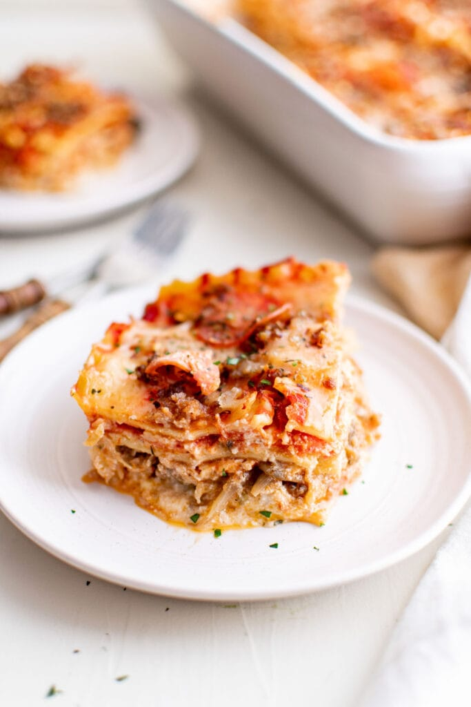 lasagna on white plates