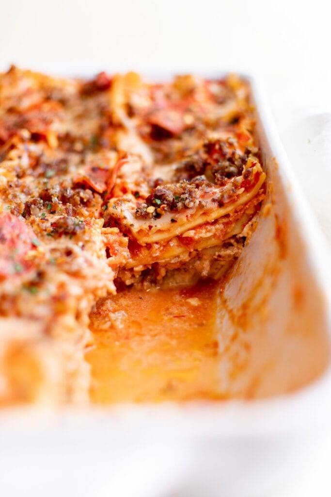 baking dish of lasagna showing the layers