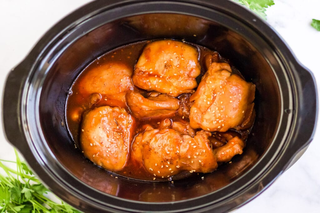 slow cooker with chicken thighs and sauce
