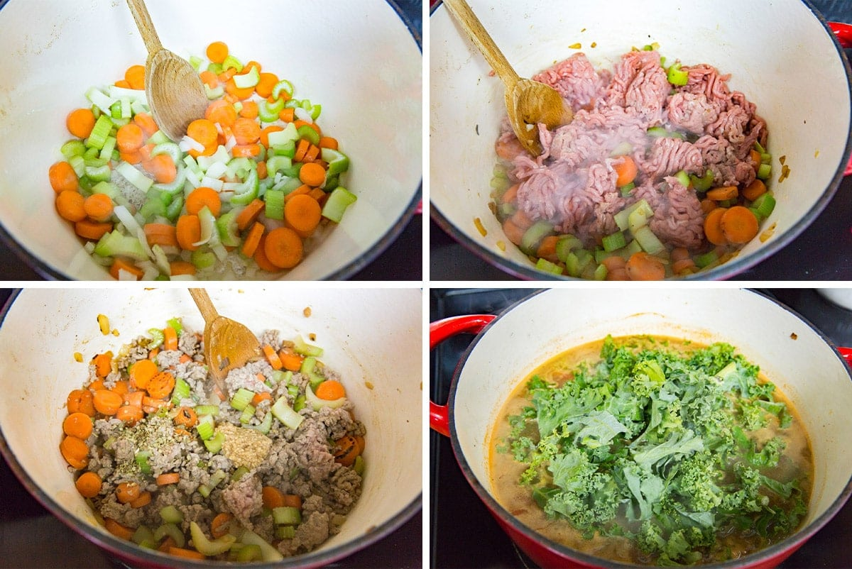 collage of images to make turkey rice soup