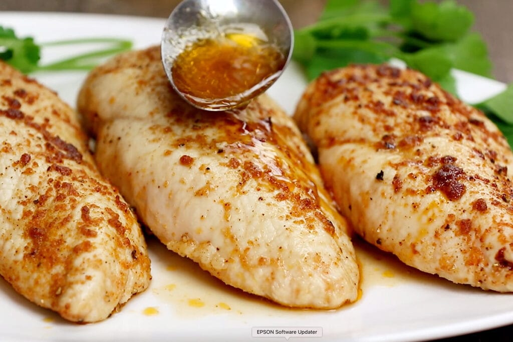 chicken breast, spoon with juices