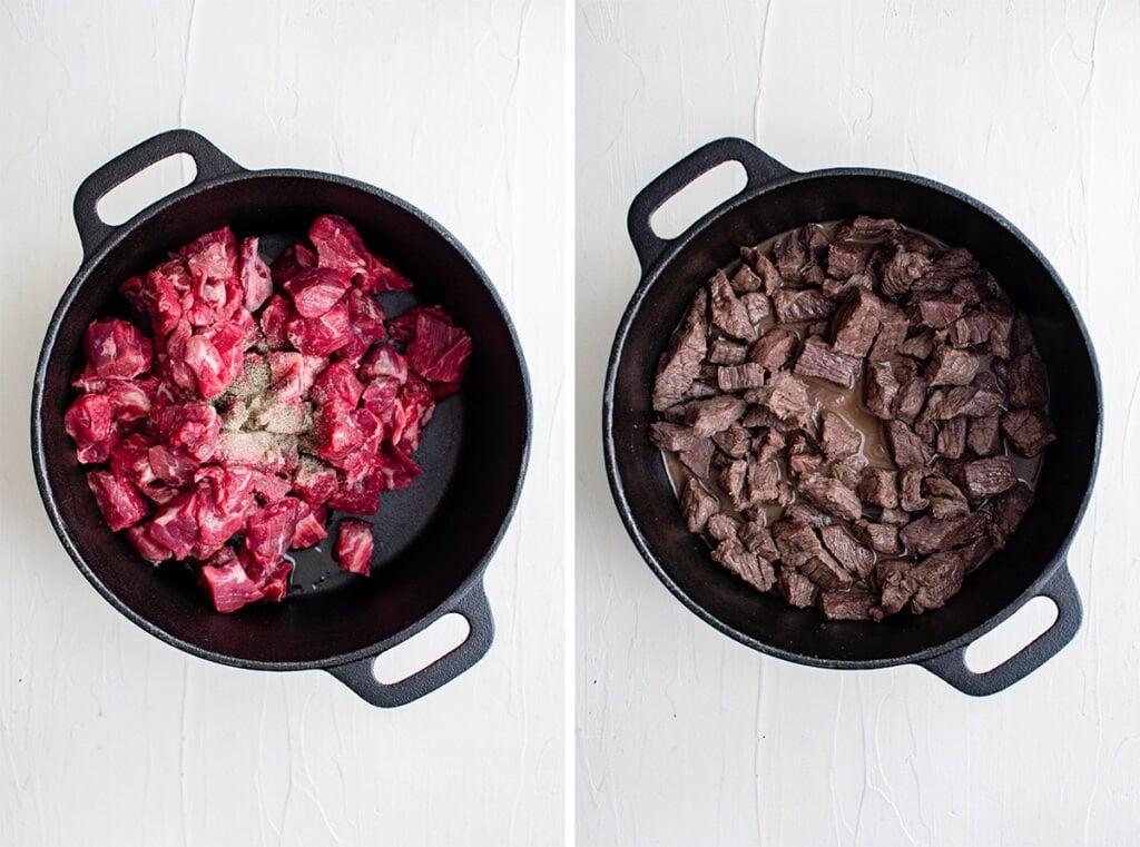 collage image of beef tips in black skillet