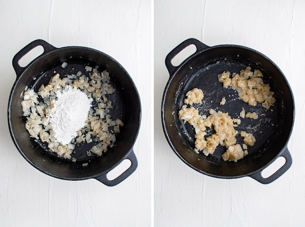 onions and garlic with flour