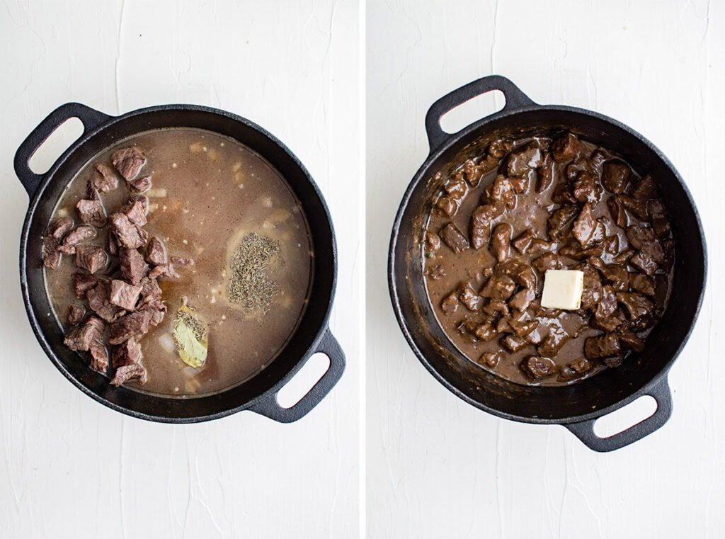 pots of beef tips cooking in a gravy