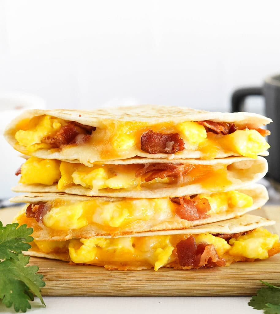 stack of egg and bacon quesadillas
