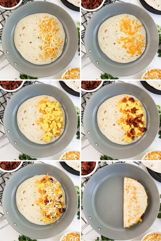 collage of how to make breakfast quesadillas