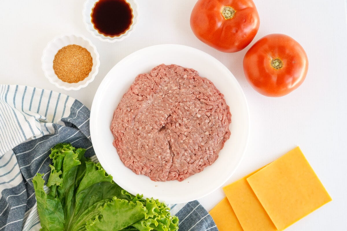ground beef, tomatoes, cheese, lettuce, seasonings