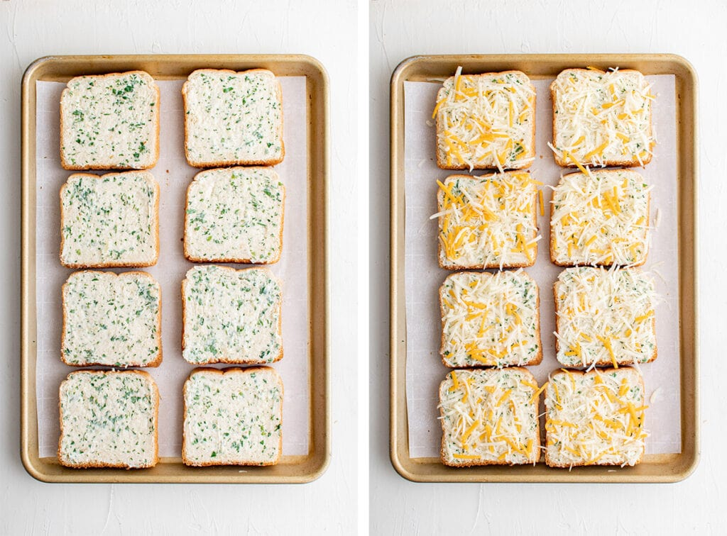 collage of 2 images for cheese toast