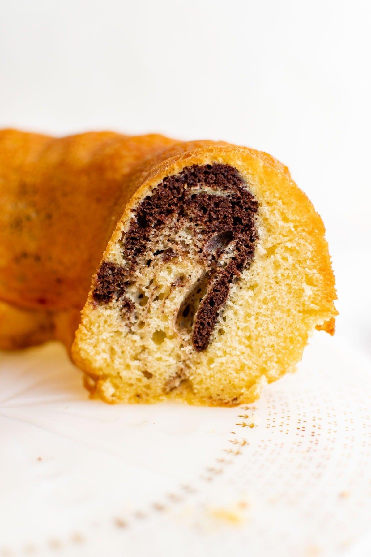 bundt cake sliced to see the inside