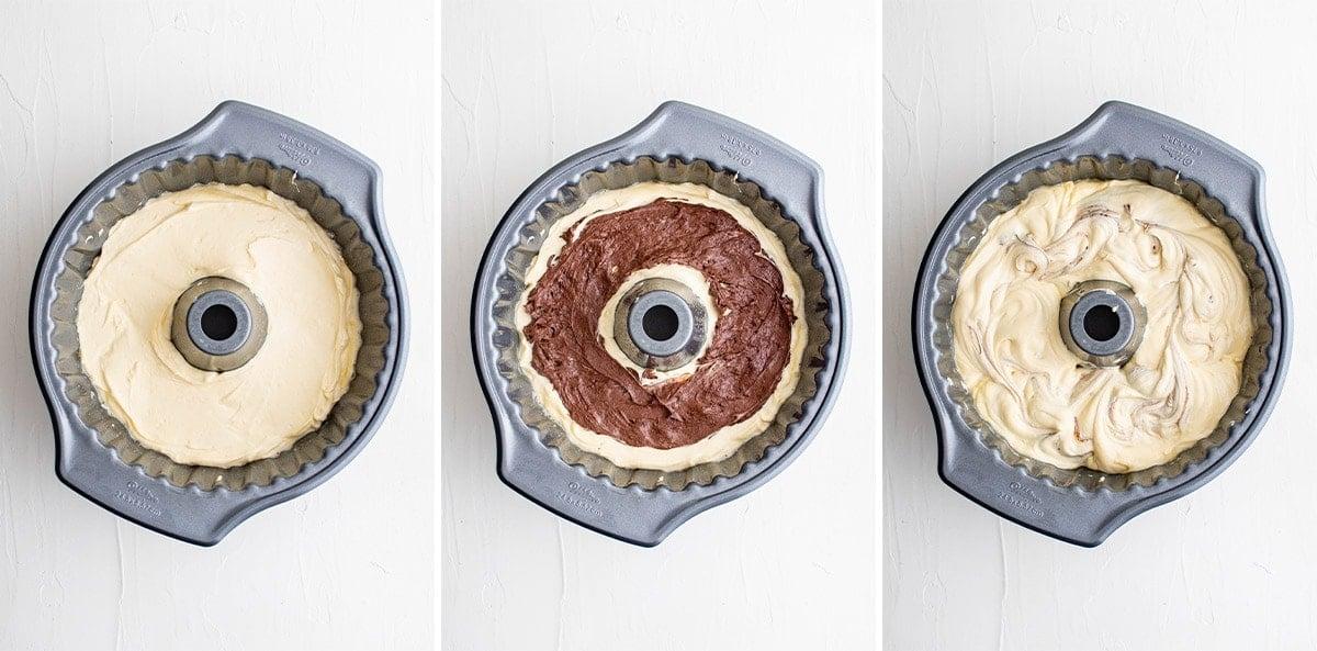 steps for layering cake batter in bundt pan