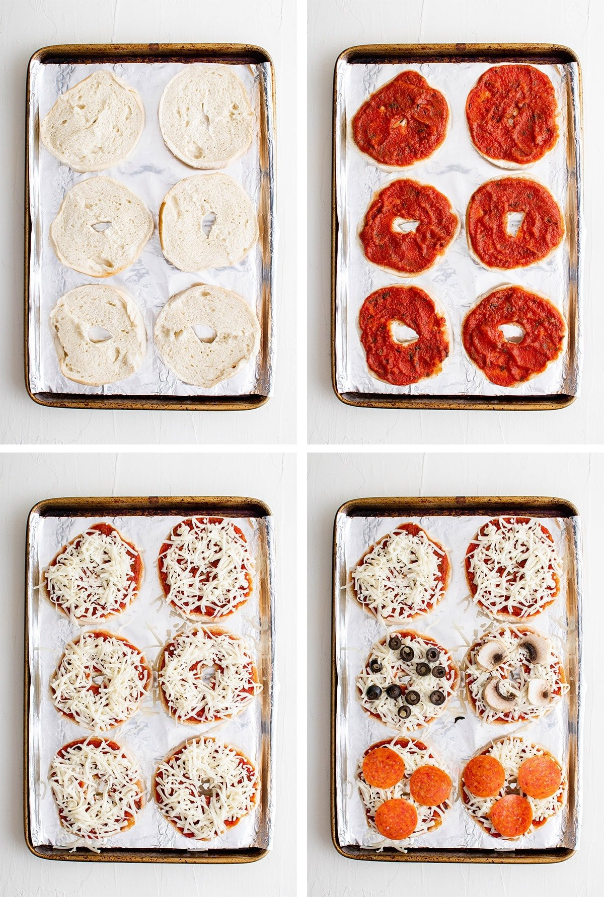 collage of images showing how to make pizza bagels