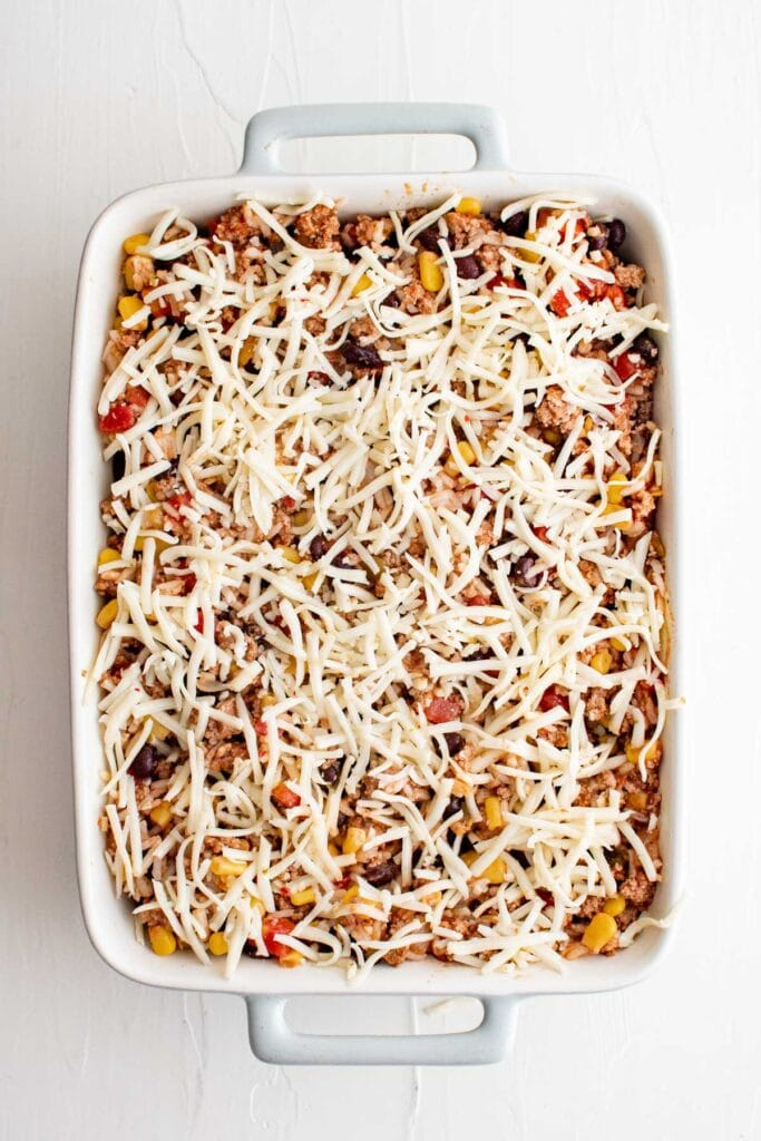 casserole with cheese on top
