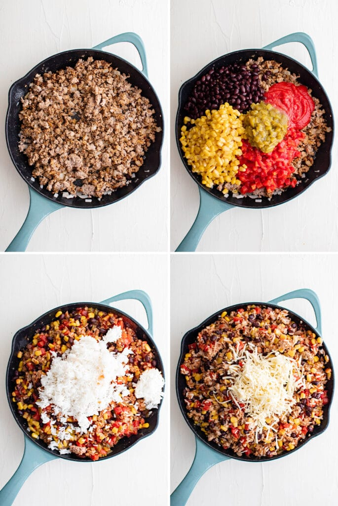 collage with skillet, ground turkey, spices and veggies