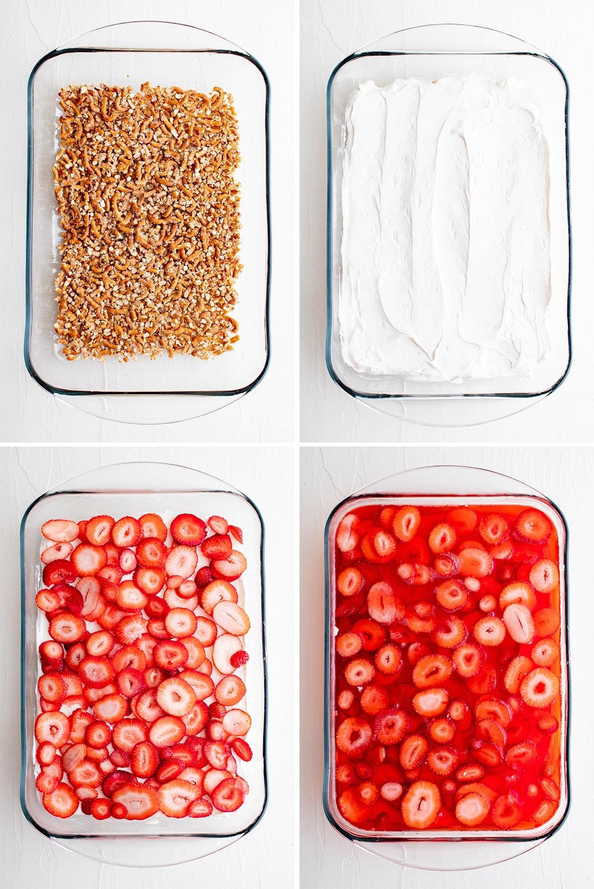 collage of images showing steps to make strawberry pretzel salad