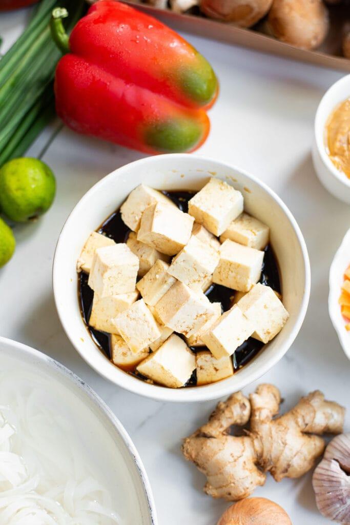 chunks of tofu in marinade