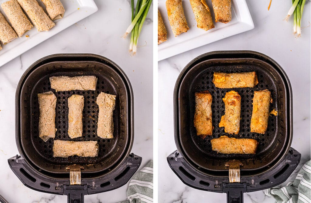 collage of two images showing egg rolls in the air fryer