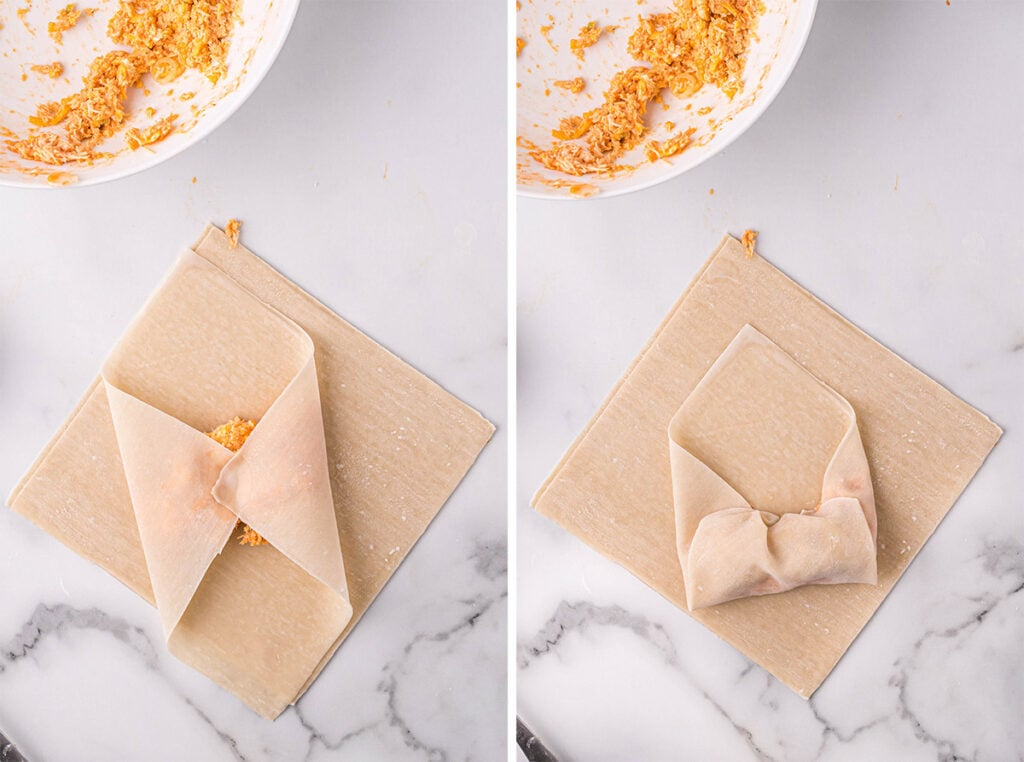 collage of images showing how to make egg rolls