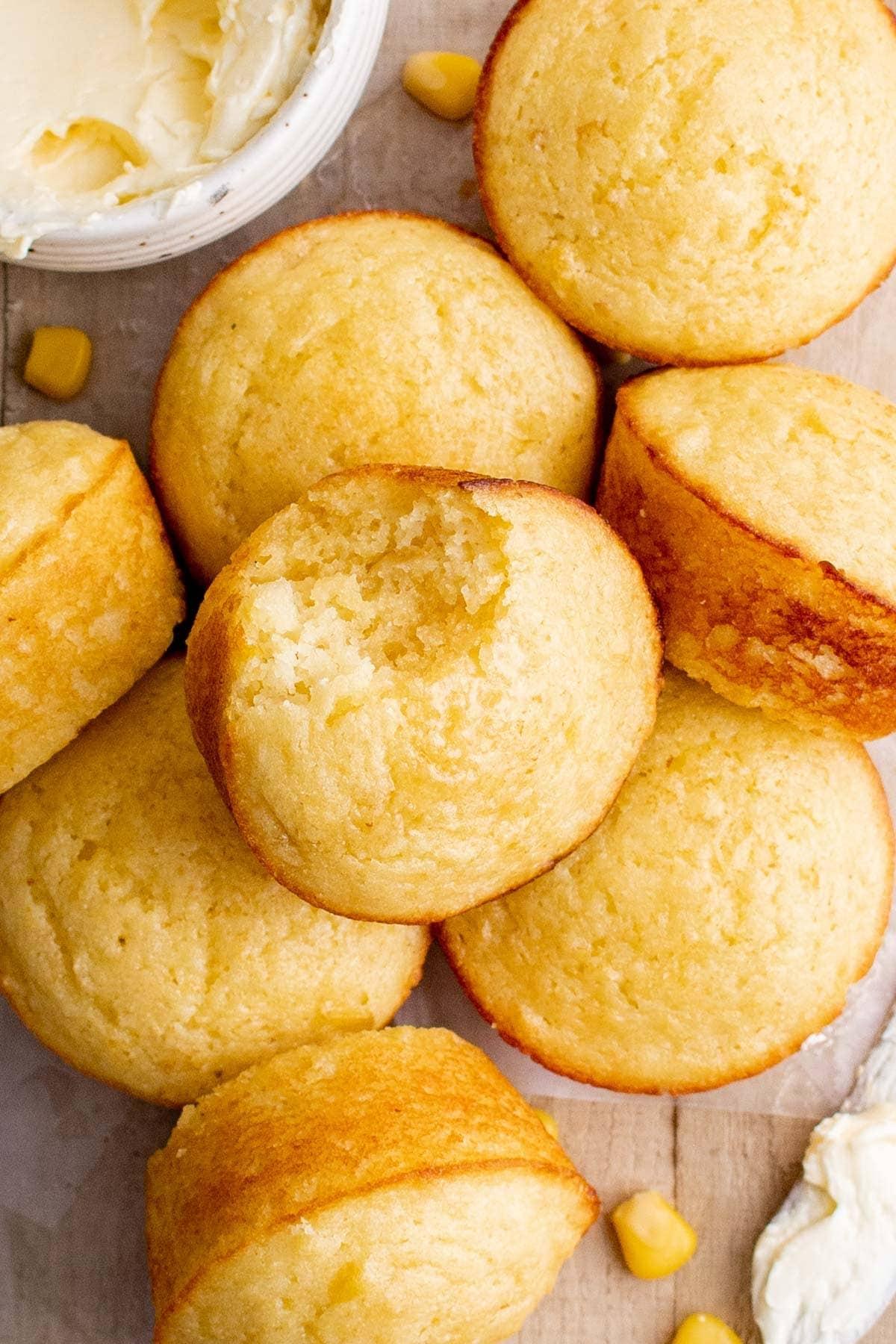 cornbread muffins - one has a bit taken out