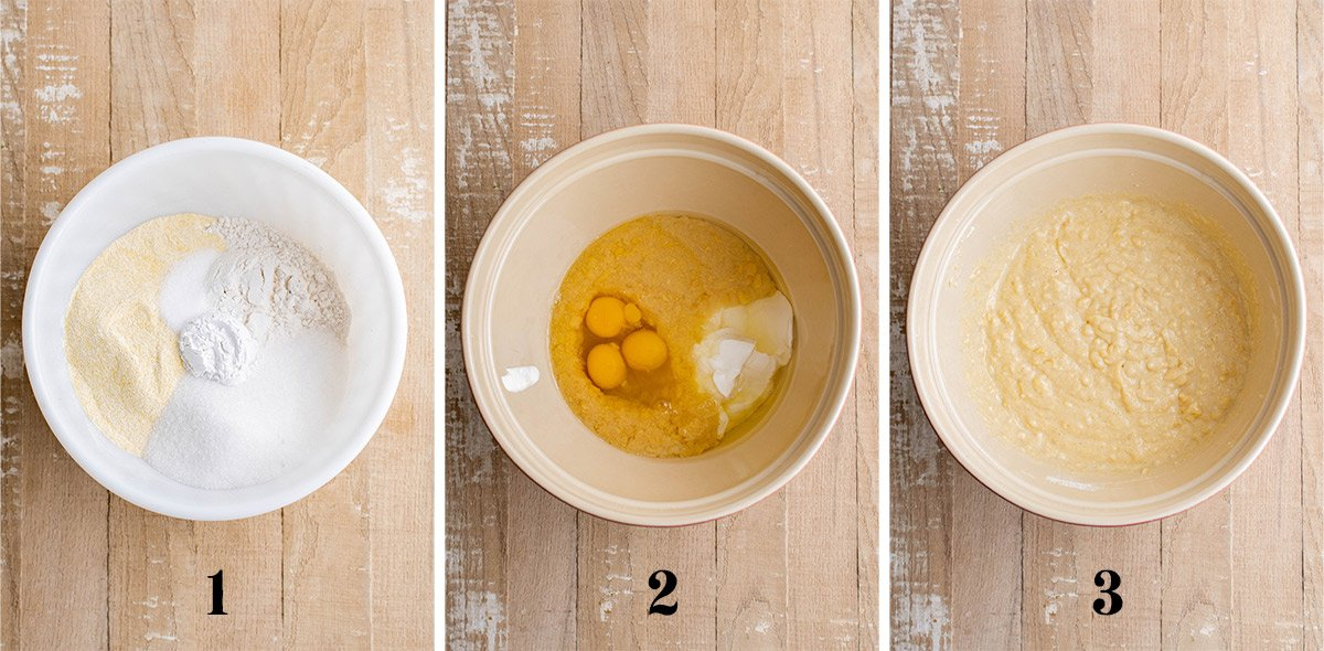 collage of images showing how to mix cornbread batter