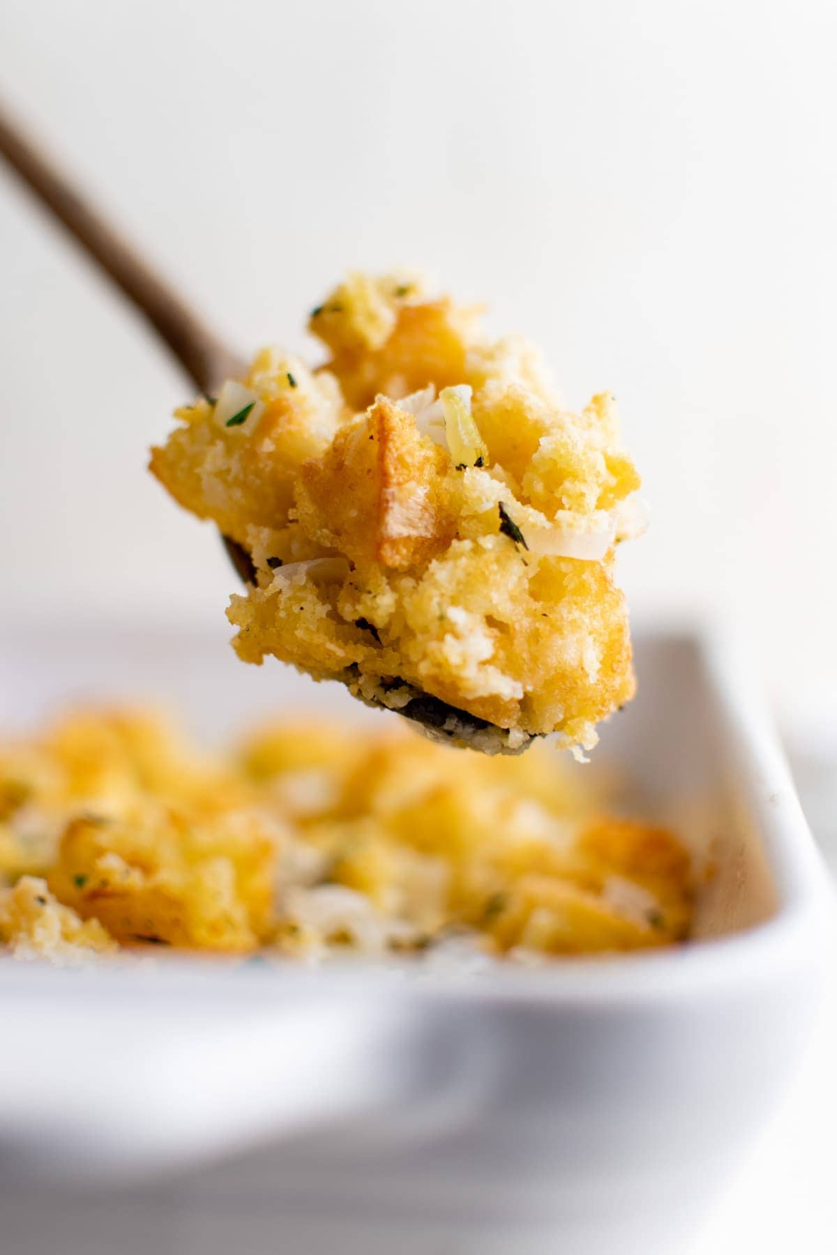 stuffing made from cornbread on a spoon