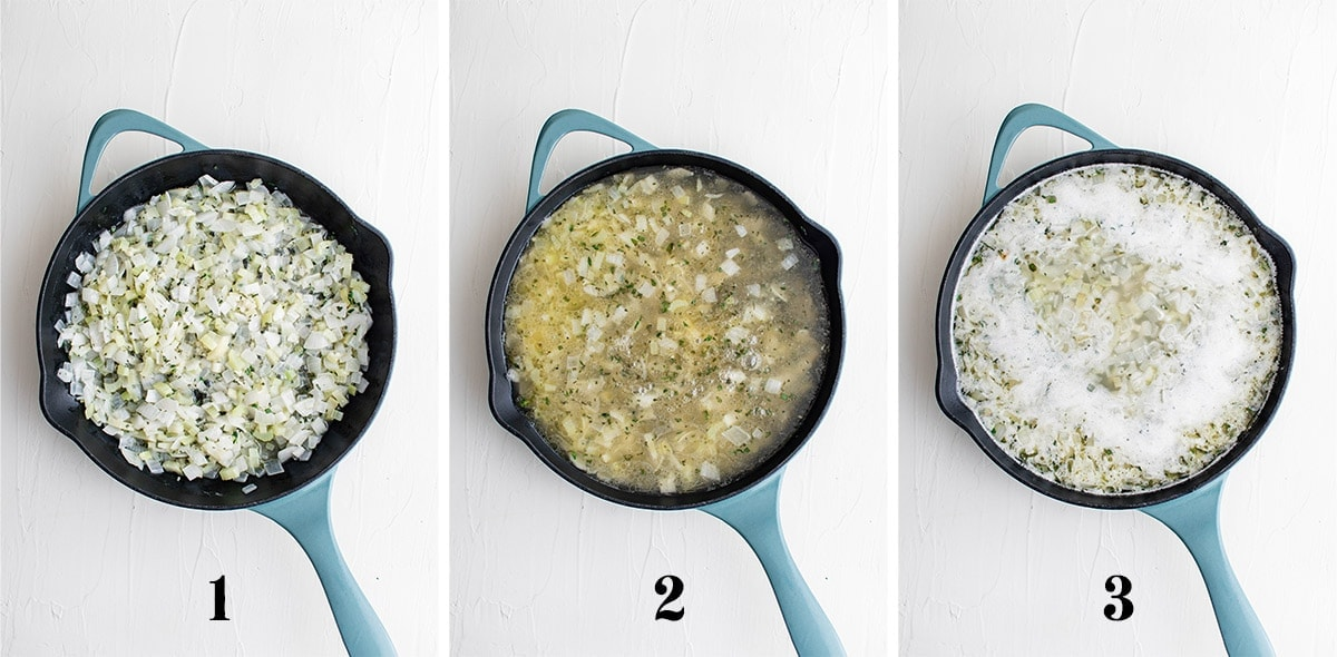 collage of images showing steps for preparing cornbread stuffing