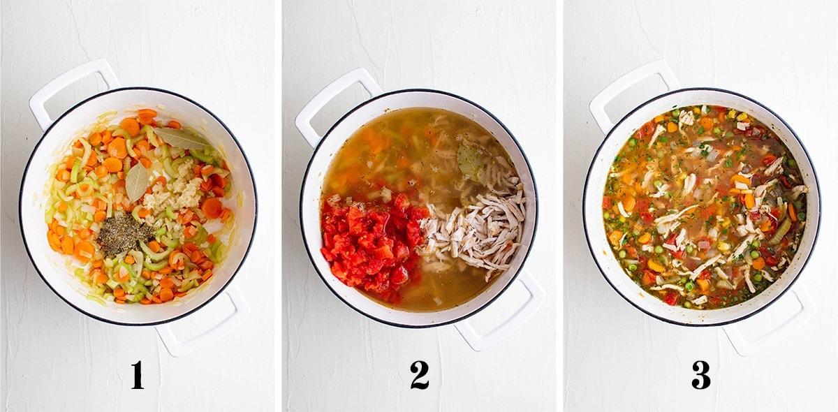 collage of images showing steps for making turkey soup