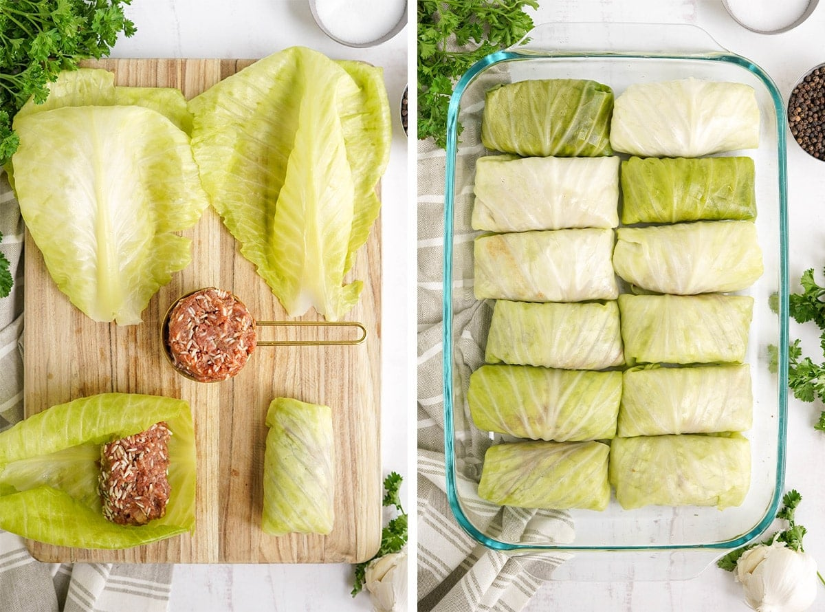 images in a collage showing how to make stuffed cabbage rolls