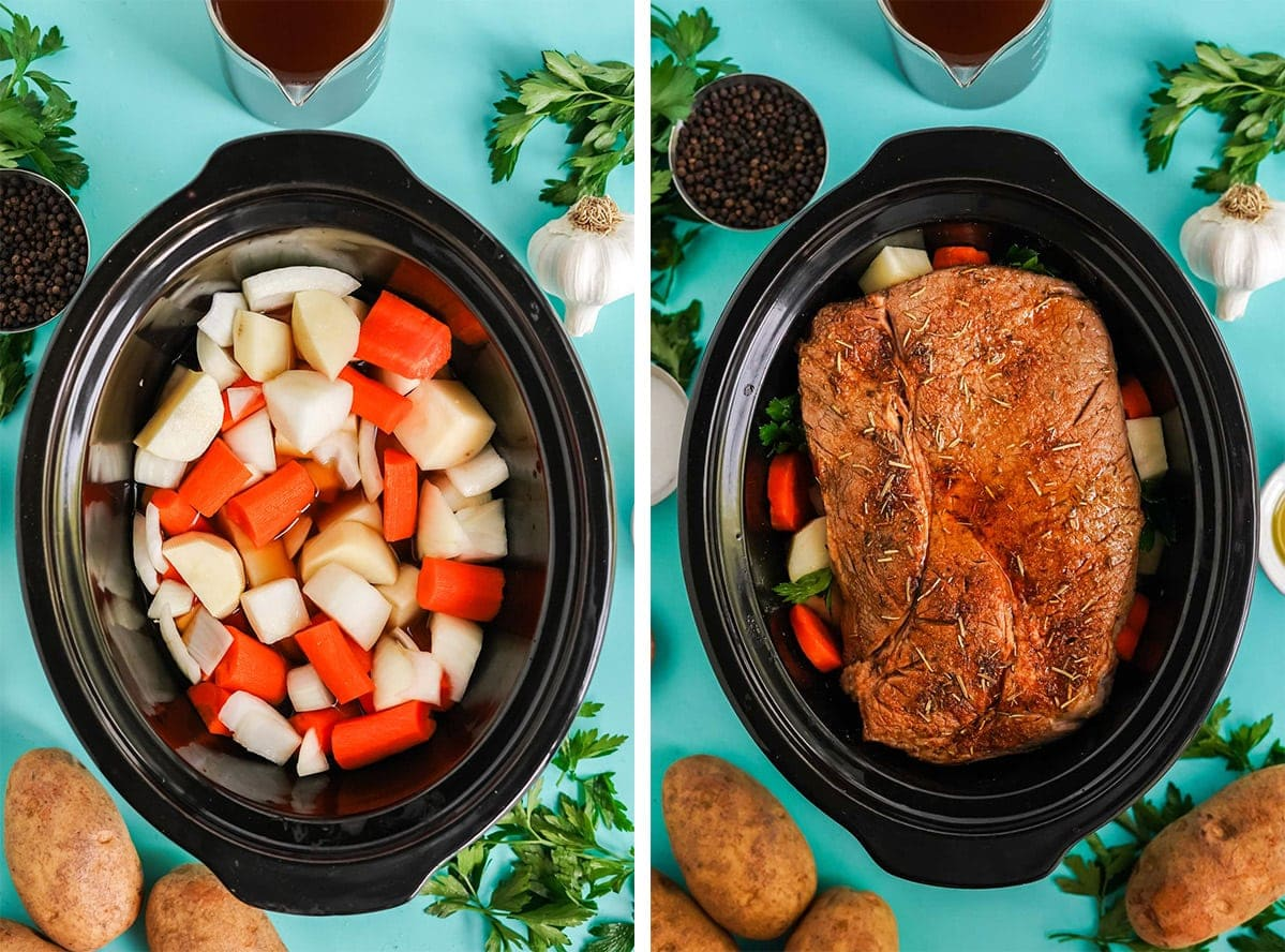 crock pot with vegetables and a chuck roast